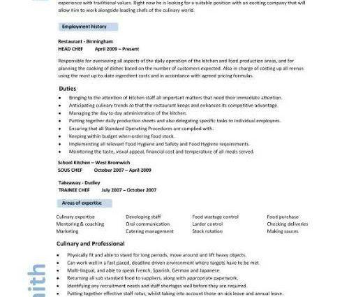 resume template for chef resume cv cover letter
