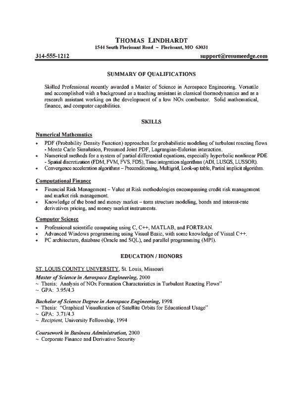 Grad School Resume Example Sample Resume For Graduate School