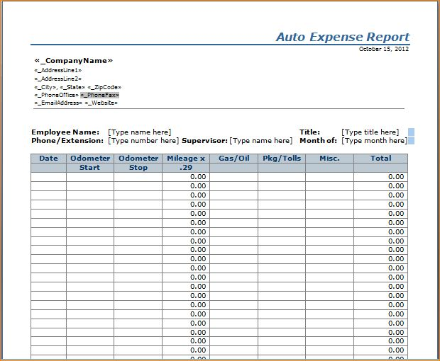 Monthly Expense Report Template Monthly Expense Report Template - expense report template