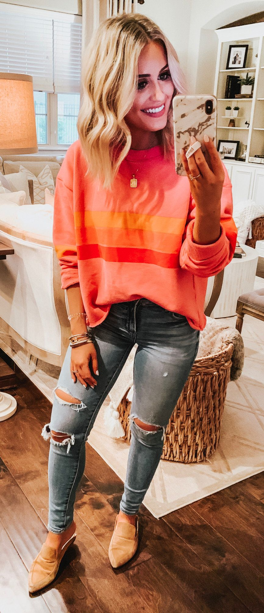 pink and yellow sweater #spring #outfits