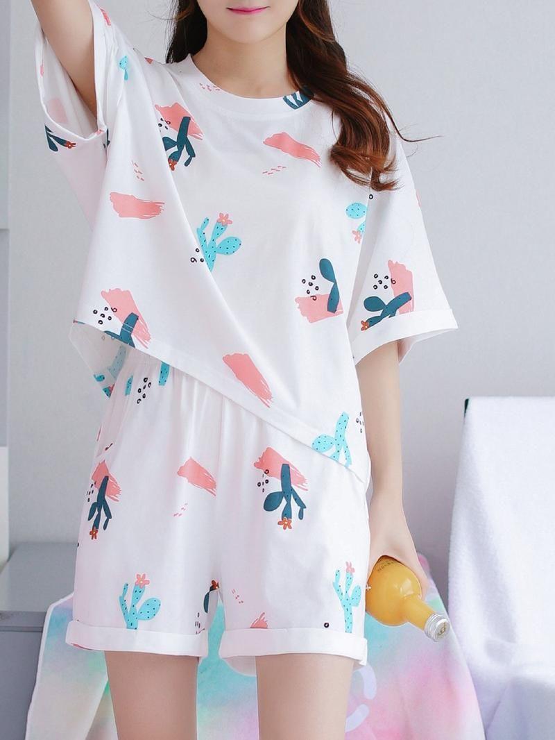 Cactus Print Tee & Shorts PJ SetFor Women-romwe