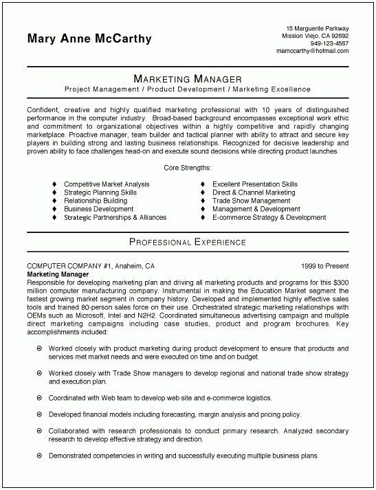 Brand Manager Resume Examples Marketing Manager Resume Free