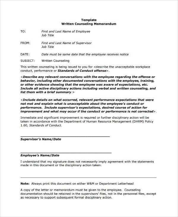 Performance Improvement Template Performance Improvement Plan - disciplinary memo template
