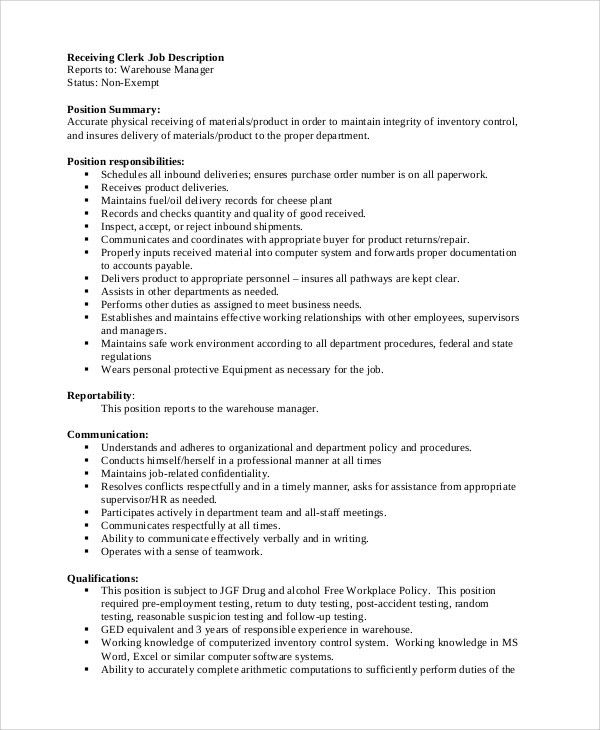 Receiving Manager Job Description Shipping And Receiving - warehouse manager job description