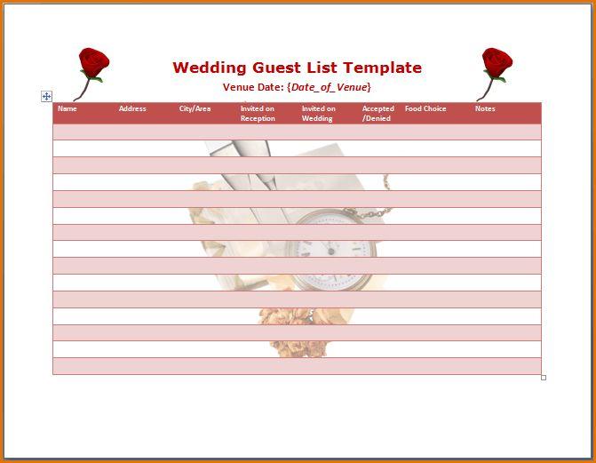 Wedding Guest Lists Template 7 Free Wedding Guest List Templates - invite list template