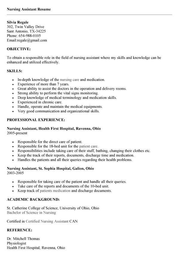 sample of a cna resumes