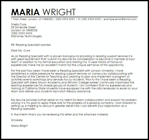 Reading Specialist Cover Letter] Ideas Collection Reading Specialist ...