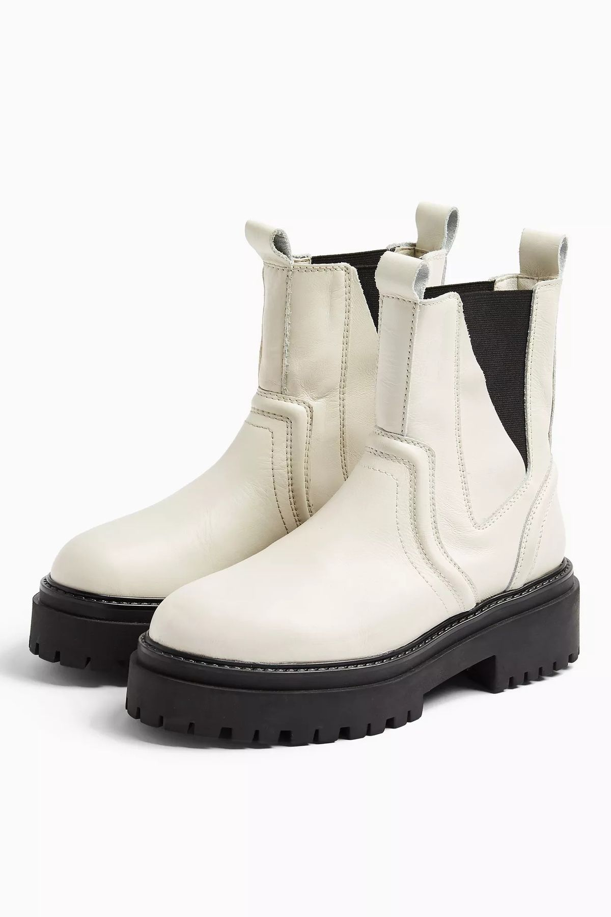 ALBIE Ecru Leather Chunky Chelsea Boots