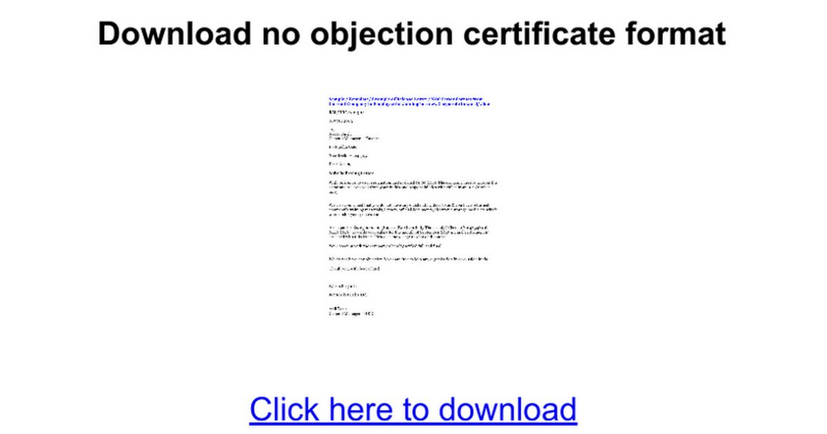 ... No Objection Letter Format For Employer No Objection Certificate   No  Objection Letter Format ...  No Objection Certificate Format From Employer