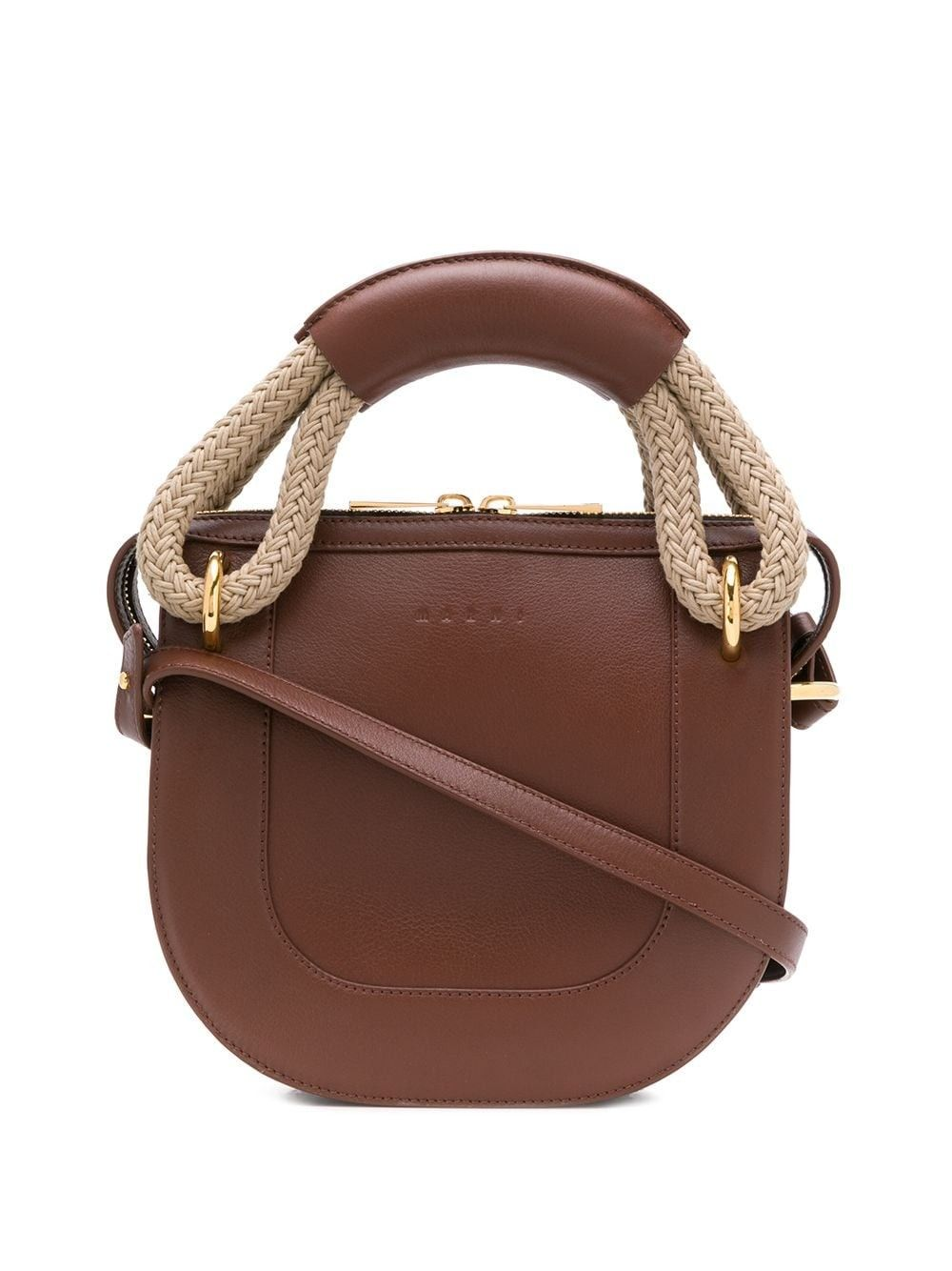 Bonnie leather and rope handle handbag