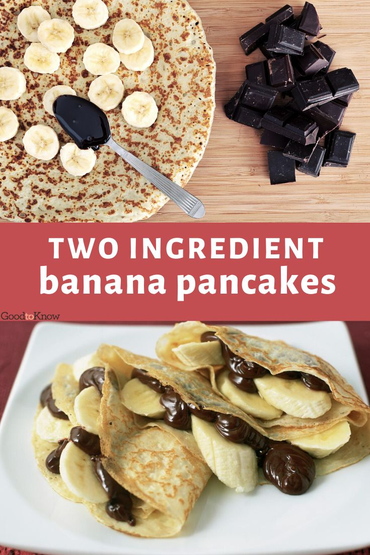 These delicious 2-ingredient banana pancakes are much healthier than you average pancake recipe. They take minutes to cook and are perfect topped with honey, maple syrup or sprinkled with chopped nuts. If you find it difficult to flip your pancakes with a large spatula, just pop under the grill for 3-5 minutes instead. Perfect for pancake day! #pancakeday #pancakerecipes #easyandquickpancakes #bananapancakes #2ingredientpancakes #bananarecipes #howtomakebananapancakes #pancakeideas #sweetpancake