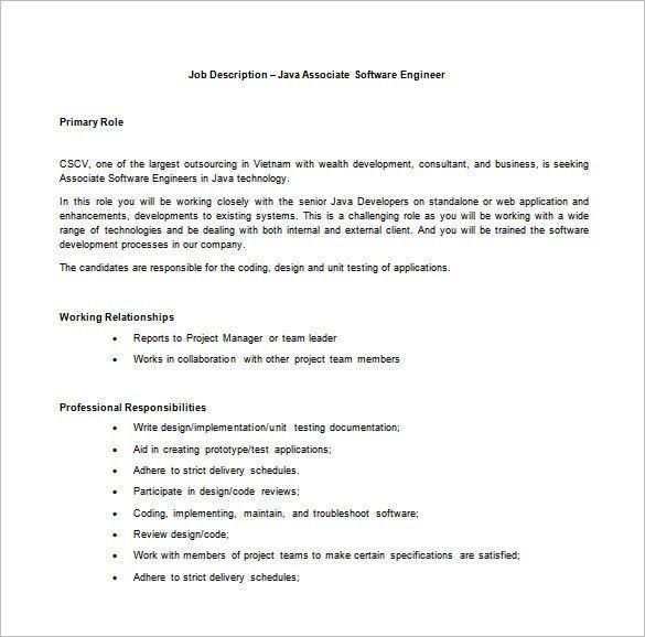 Application Engineer Job Description application development job - software developer job description