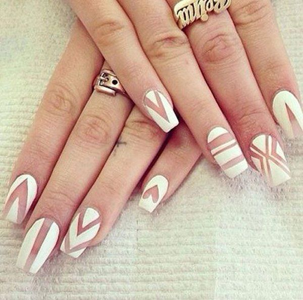 This nail polish + natural-nail-color-for-the-patterns style is now becoming the trend. And I don't see any reason why not. From Chevron to stripes and even shapes, all looks stunningly beautiful.