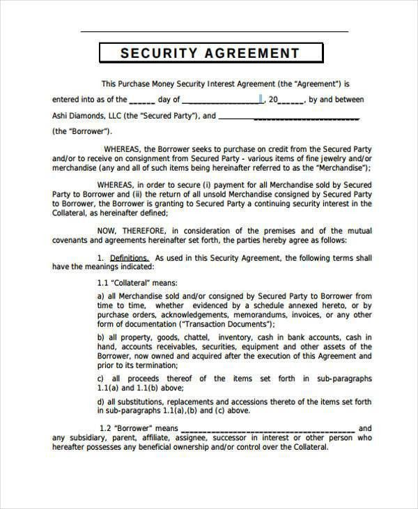 Security Agreement Template 10 best images of collateral - sample security agreement