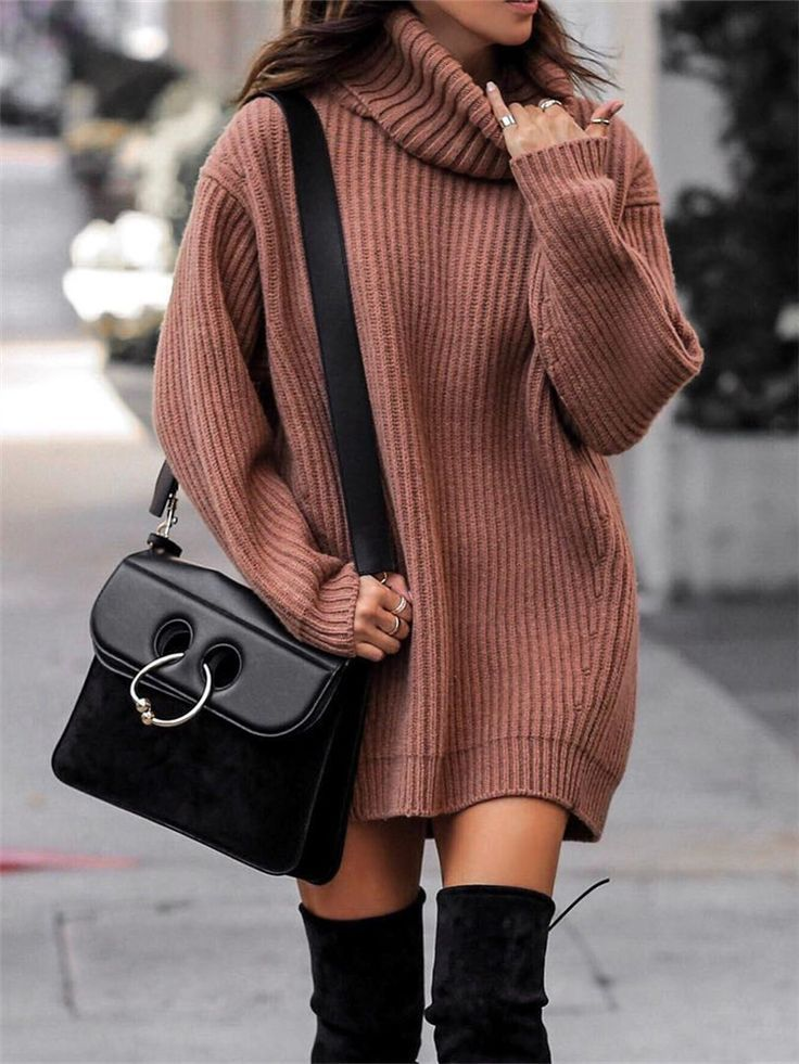 High Neck Solid Color Knit Sweater Top