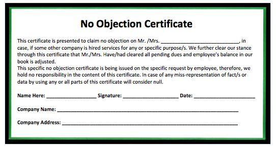 No Objection Certificate Format From Employer No Objection - no objections certificate