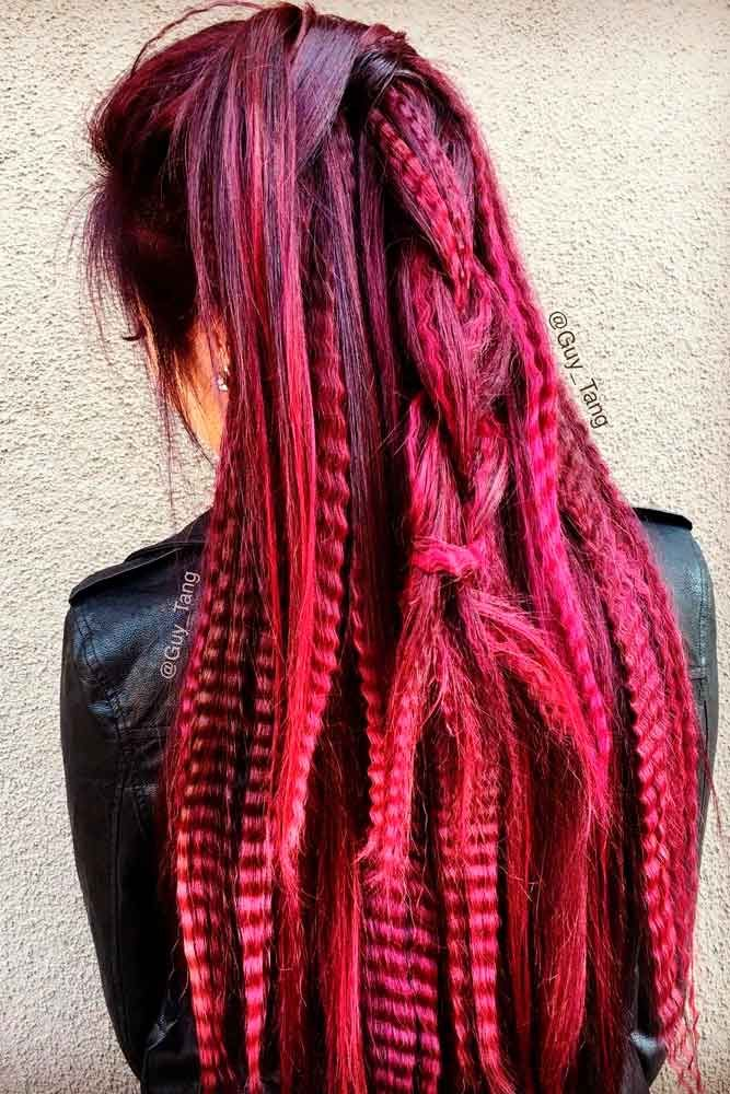The Timeless Crimps #redhairstyles #crimpedhair #longhair ★ Luckily for retro-lovers, 80s hair is the new black! So how about you to refresh your memory and start rocking one of the biggest trends of now and then? Our long crimped styles, ponytail half up ideas, and voluminous curly looks with high bangs are here to inspire you! #glaminati #lifestyle #80shair