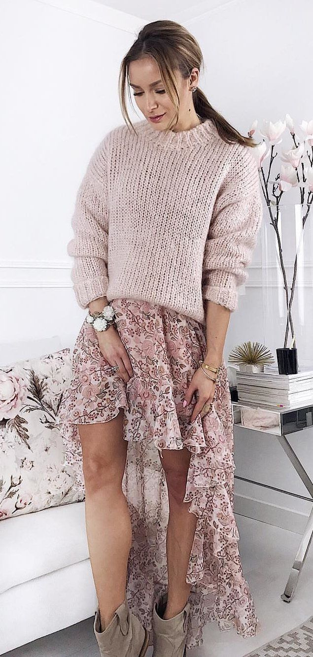 beige floral high low skirt and beige sweater #spring #outfits