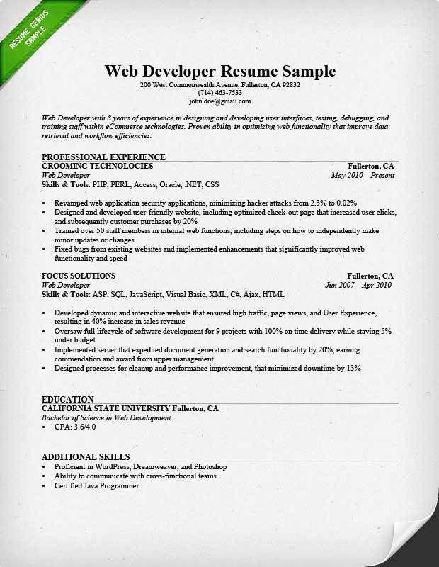 Web Developer Resume Sample Unforgettable Web Developer Resume - web resume examples
