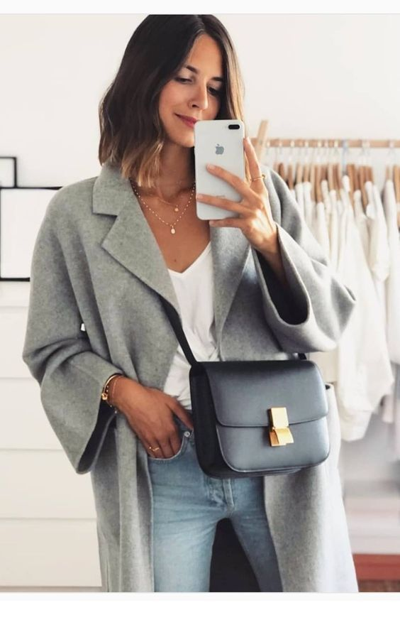 Cool grey coat and bag