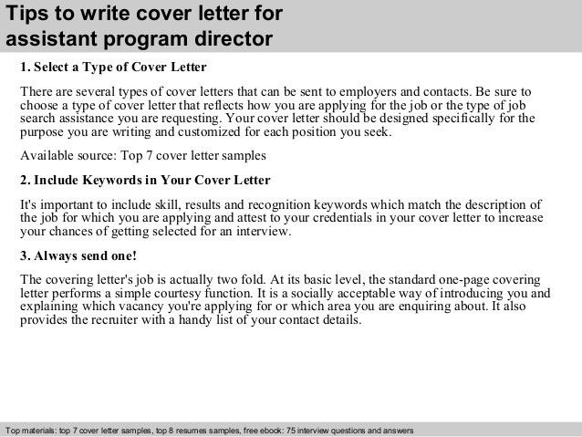 assistant director cover letters