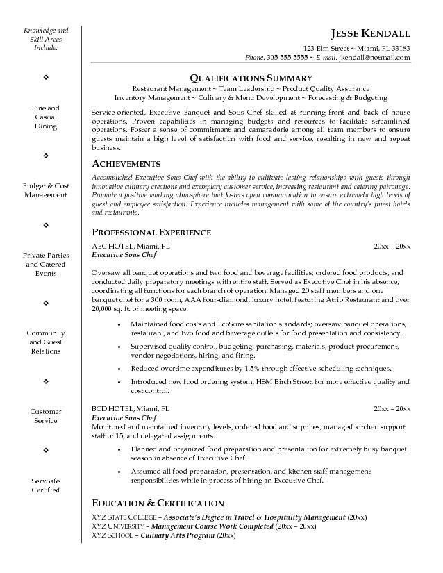 Chef Objective Resume Download Chef Resume Sample