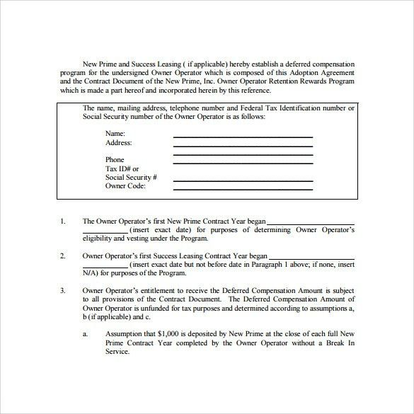 Lease Contract Format Lease Agreement Create A Free Rental - sample owner operator lease agreement