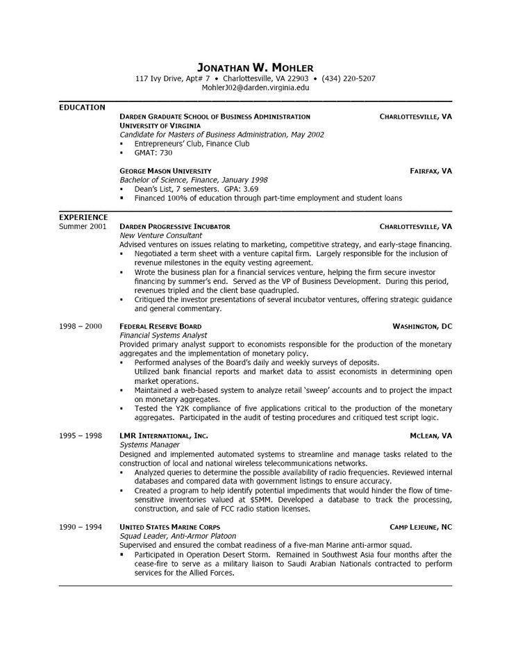 sample resumes for graduate school
