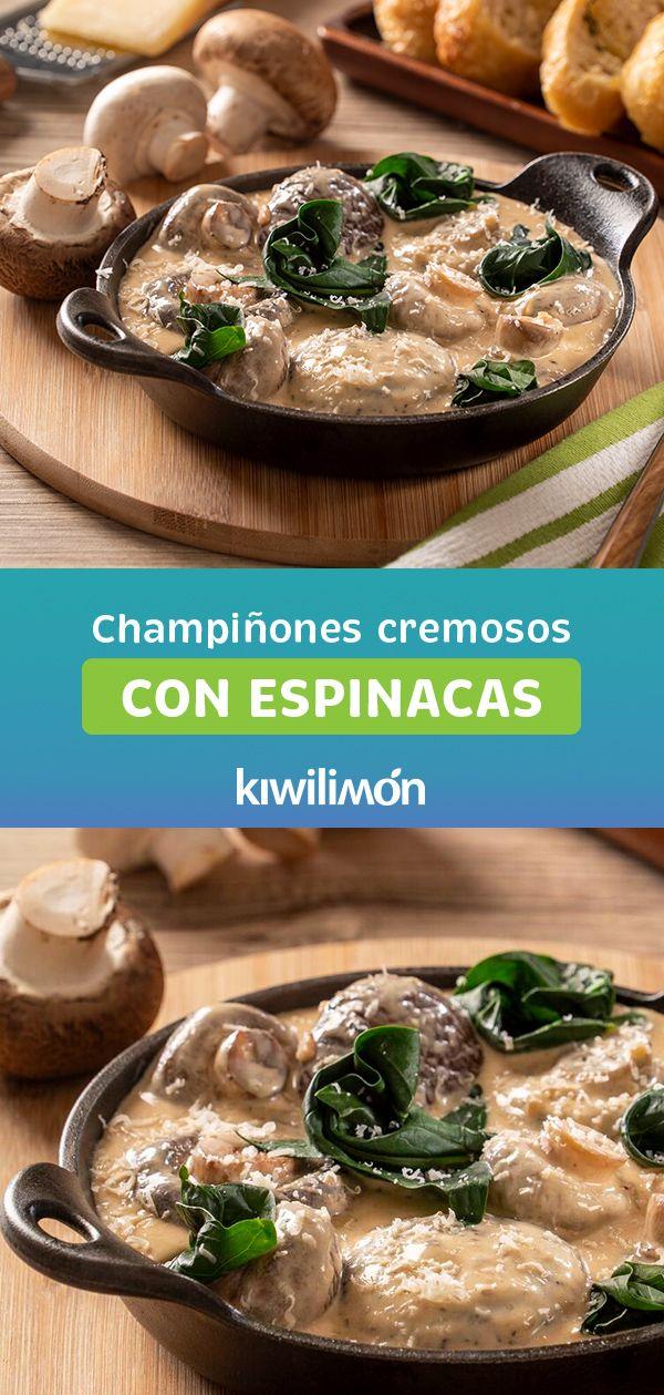 Champiñones Cremosos con Espinacas