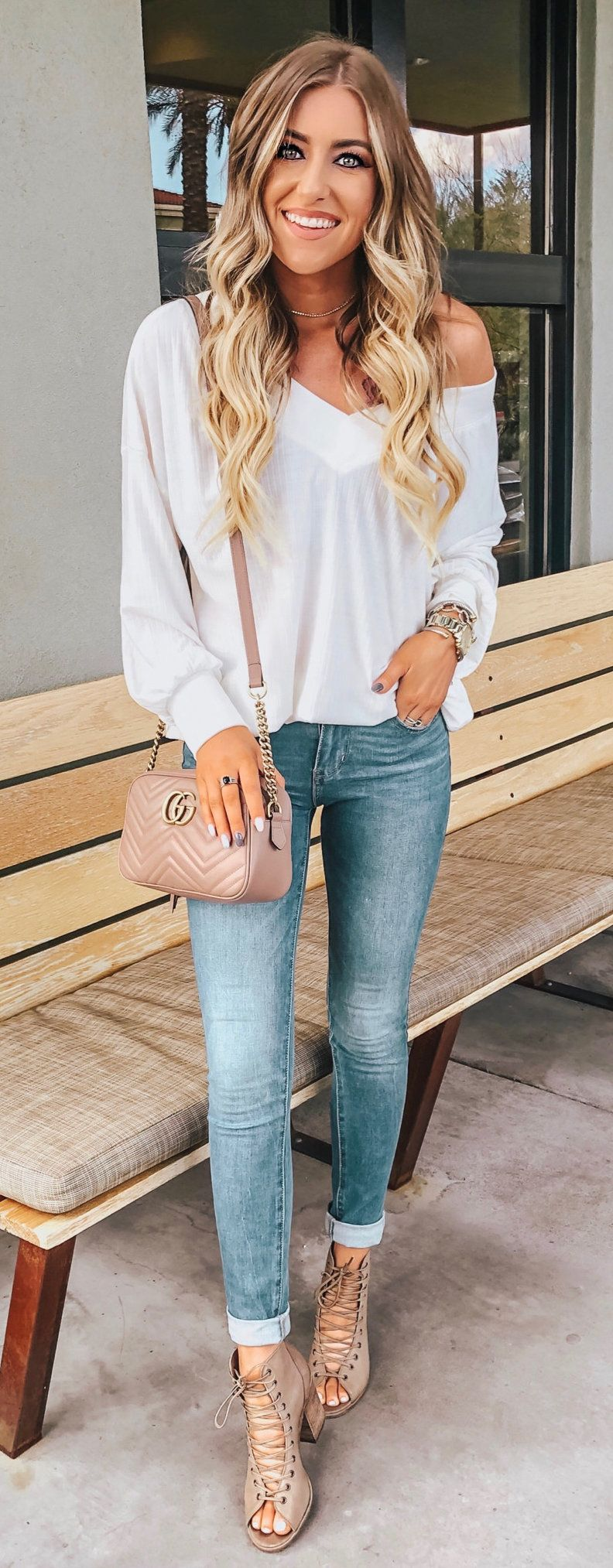 white V-neck long-sleeved shirt #spring #outfits