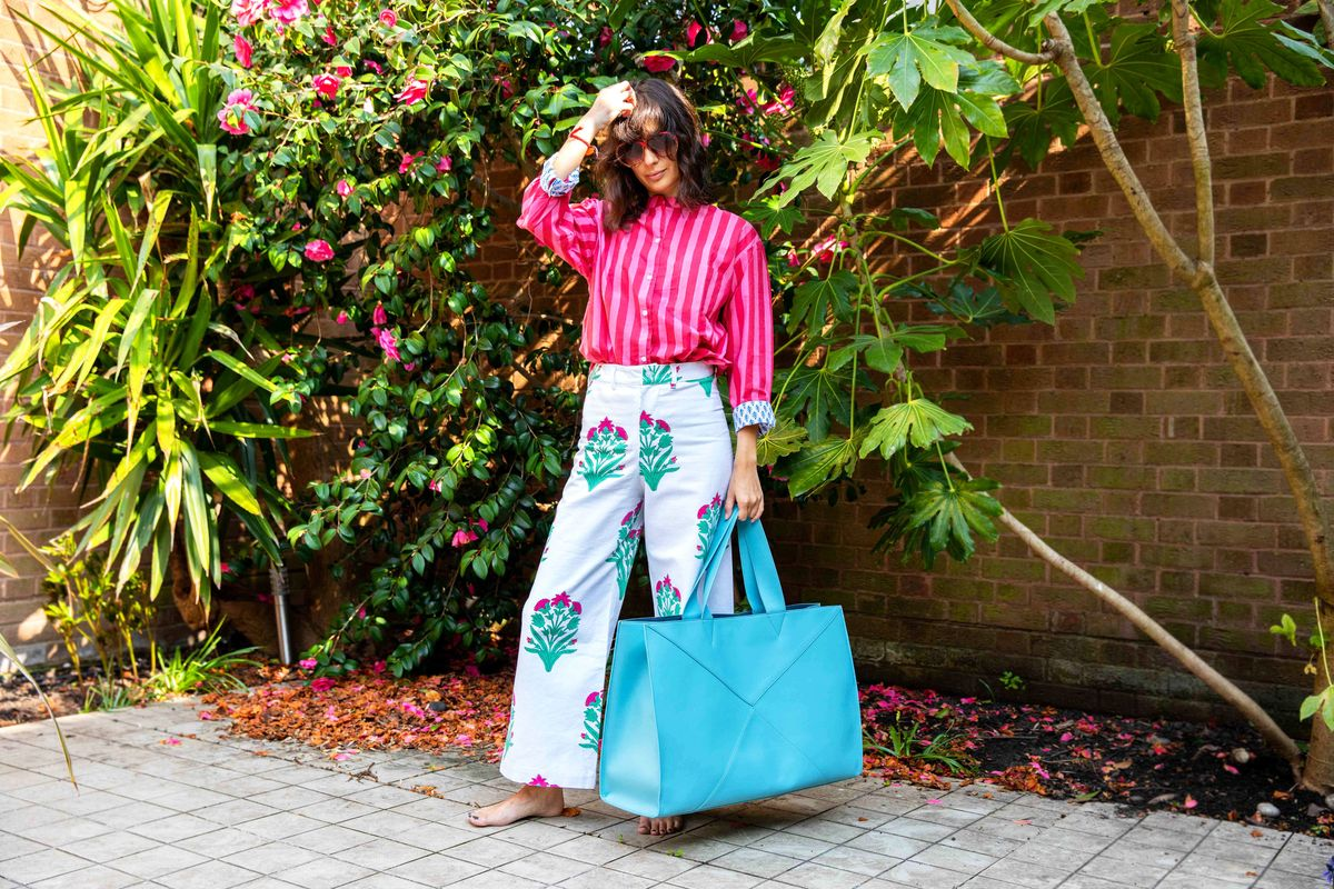 Print, pattern & colour | SZ Blockprints  top  &  trousers ,V by Townsley  bag ,vintage sunglasses | JasmineHemsley.com