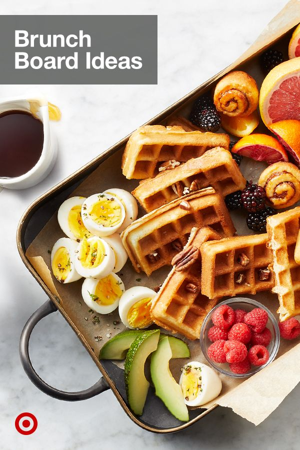 Plan a delicious breakfast or brunch party menu with easy charcuterie board, platters & food ideas.