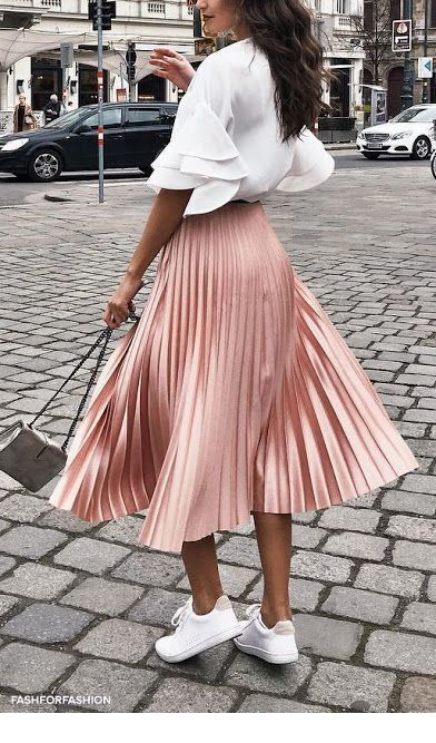 Blouse with ruffles and midi skirt