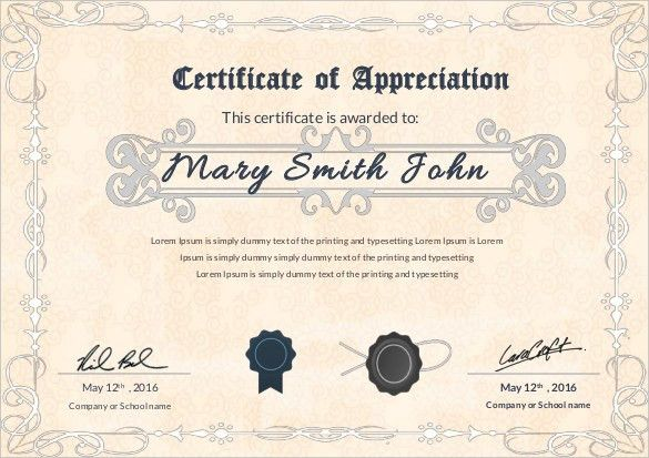thank you certificate wording