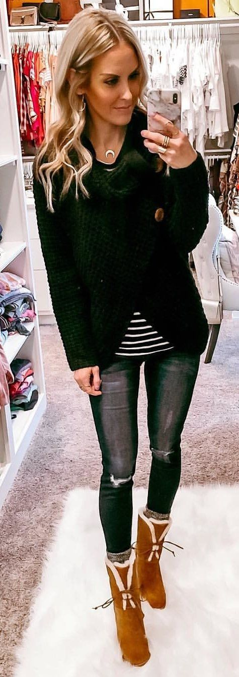 green and black long sleeve dress #winter #outfits