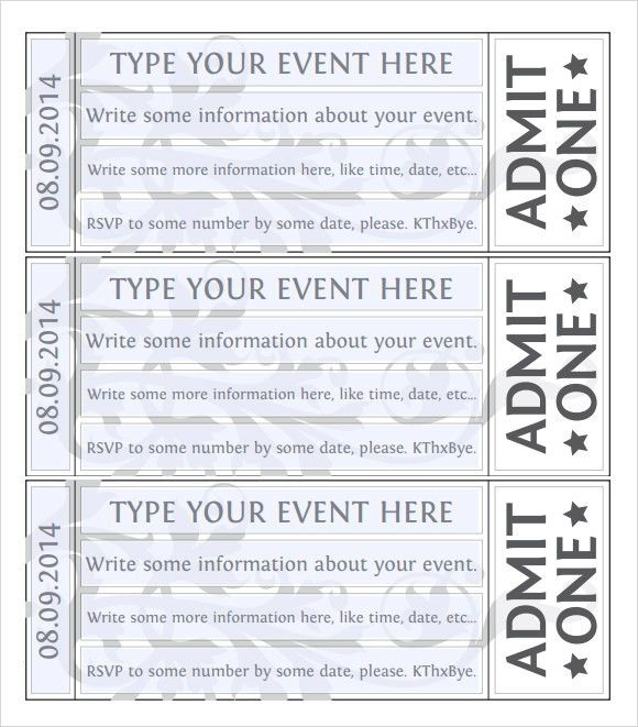Free Event Ticket Template Event Ticket Template Templates For - numbered tickets template