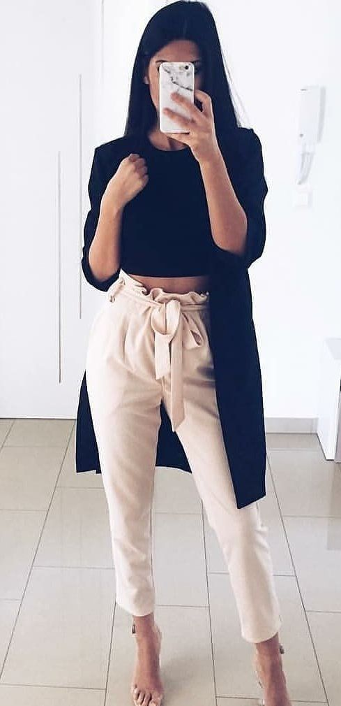 black long-sleeved shirt and white pants #spring #outfits
