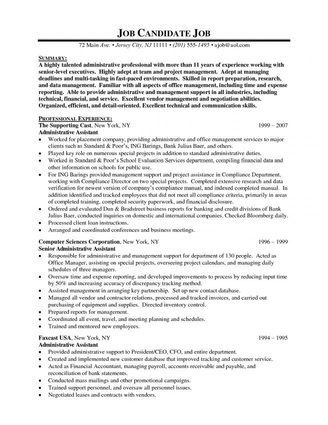 Personnel Administrative Assistant Resume Administrative - executive assistant resume summary