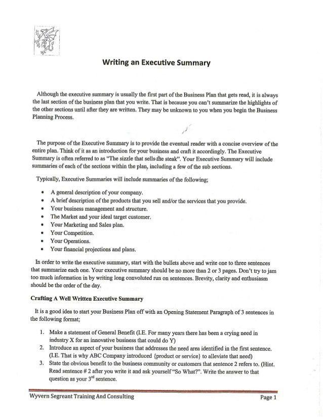 An Executive Summary 31 Executive Summary Templates Free Sample - one page executive summary template