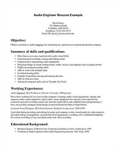 Music Recording Engineer Sample Resume] Audio Engineer ...