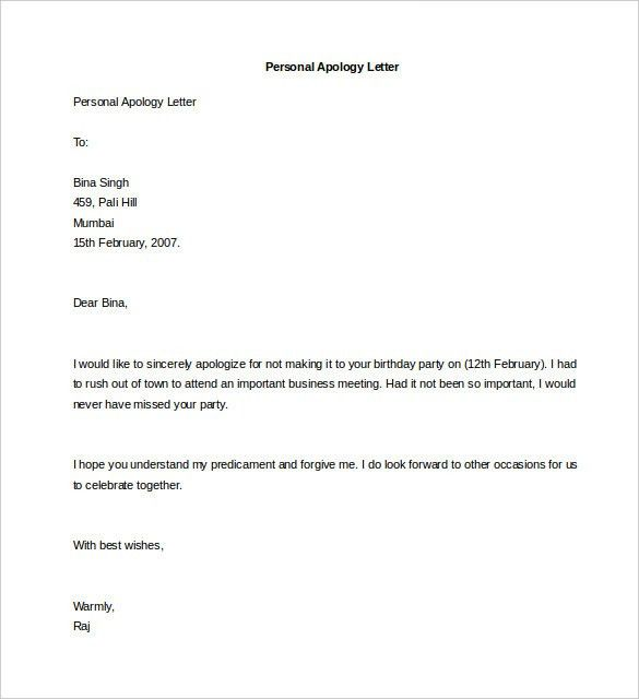 Letter Of Personal Apology Sample Personal Apology Letter 6 - example of sorry letter