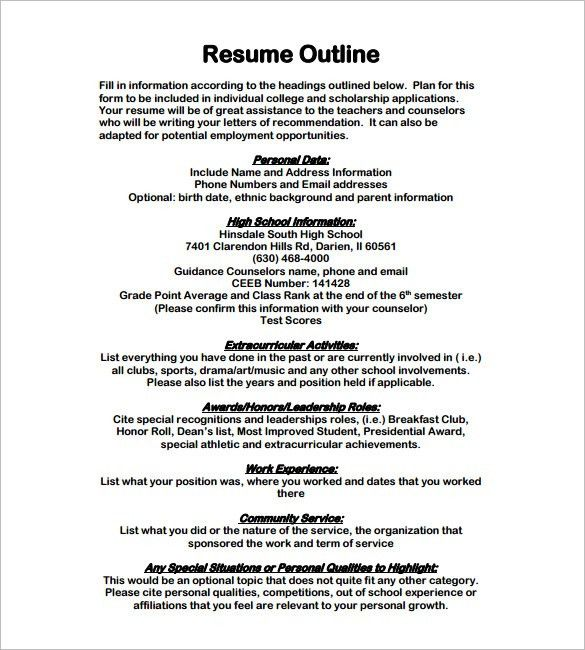 Resume Outline Sample Resume Outline Template 13 Free Sample - what should your resume look like