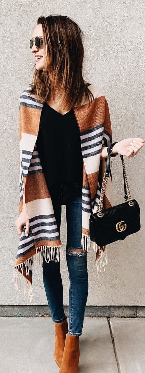 brown and white striped scarf