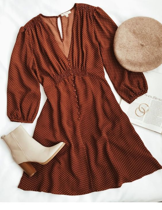Very cute brown dress for fall time