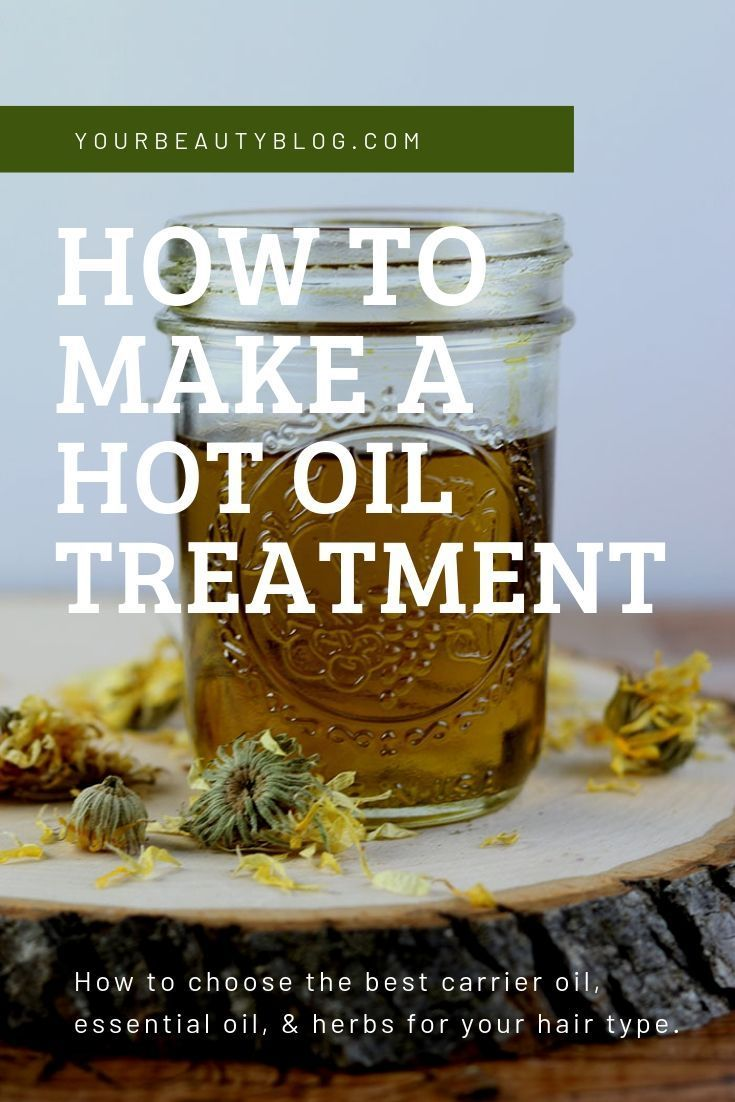 How to make a hot oil treatment for hair. This DIY natural hair treatment is great for dry or damaged hair. How to do a hot oil treatment. Make your own recipe for any hair type. Homemade hair diy recipe with carrier oils, essential oils, and herbs. Get healthy hair with this tip for hair. Use avocado oil, argan oil, or other carrier oil. #hotoil #diyhaircare #hair #naturalbeauty