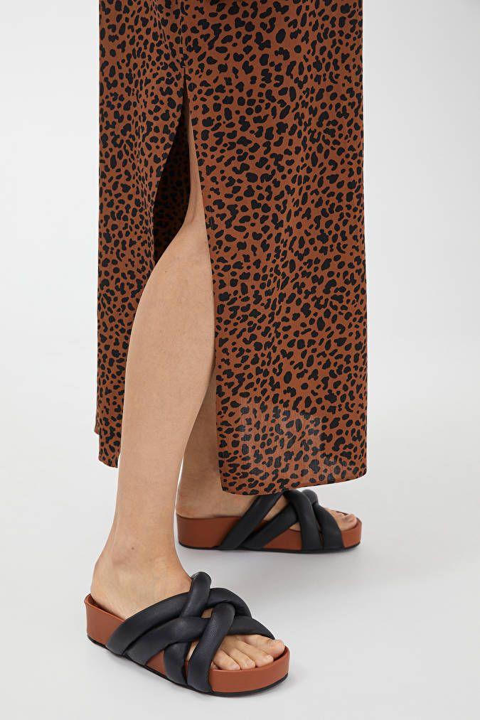 Woven Leather Slide - Brown/Black - Shoes - ARKET DE