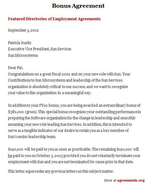 Bonus Letter Template Company Bonus Letter Template Sample Form - sample executive agreement