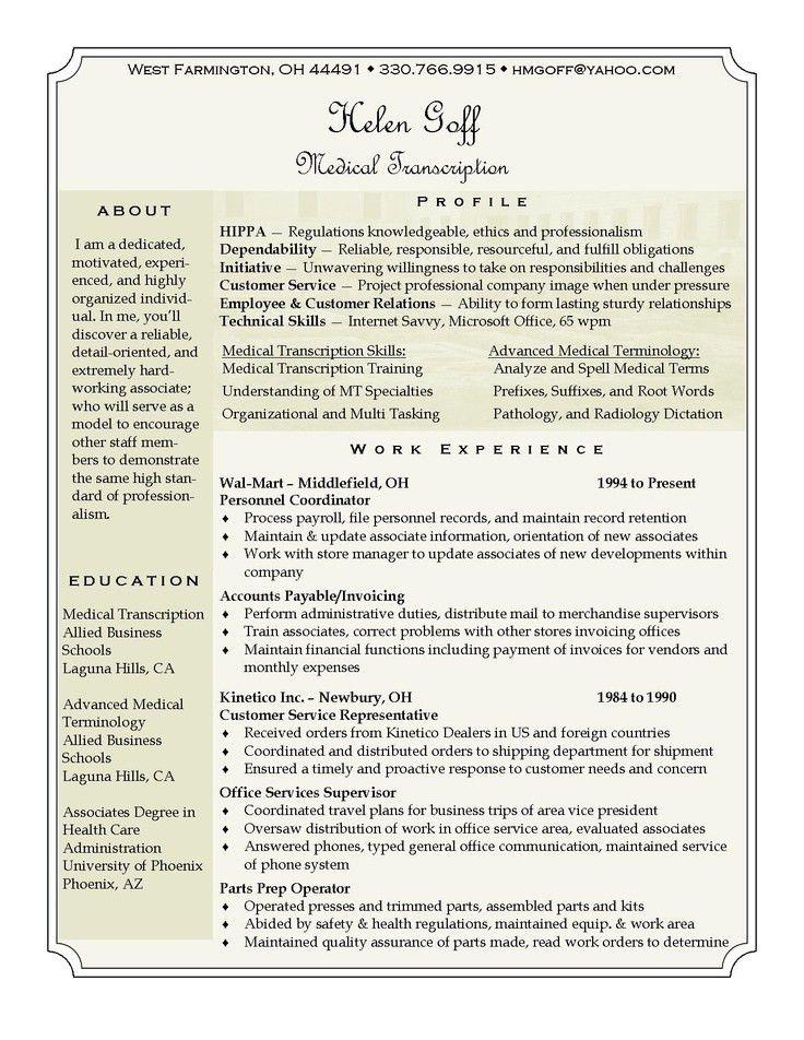 Transcription Description Resume