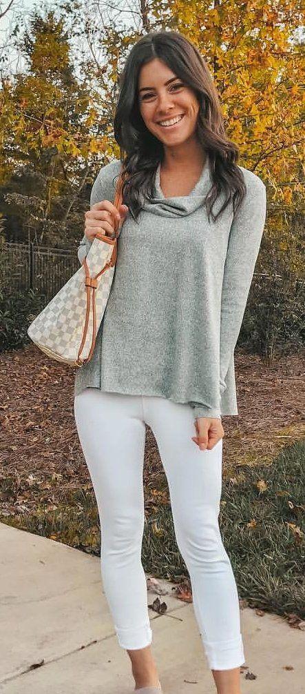 heather-gray drape-neckline shirt