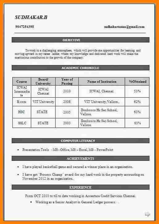 Sample Resume Format For Freshers 28 Resume Templates For